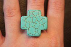 Cracked turquoise cross ring by ThreeLittleBirds90 on Etsy, $5.50