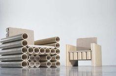 cadeira tubo de papel
