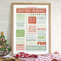 Personalised Christmas Memories Print - christmas home accessories