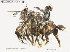 'Lance and shield against pistol. American Indian Wars, American Indians, Battle Of Little Bighorn, Serpieri, Western Comics, West Art, Cowboy Art, Arte Horror, Le Far West
