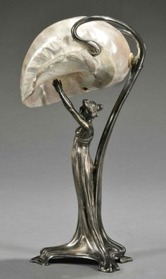 Art Nouveau Silver-plate and Mother-of-pearl Figural Lamp, Germany, late century, mark of Wurttembergische Metallwarenfabrik (WMF), the base formed as a scantily clad nymph reaching upward towards the shade formed by a large nautilus shell.