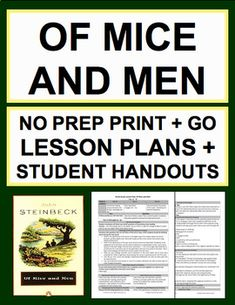Of Mice and Men Novel Study Bundled Lesson Plans & Student Packet School Resources, Learning Resources, Of Mice And Men, Student Reading, Vocabulary Words, Emotional Intelligence, Upper Elementary, High School Students, Rubrics