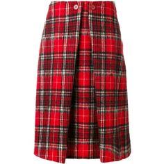 Aspesi tartan midi skirt (9.902.035 IDR) ❤ liked on Polyvore featuring skirts, red, mid calf skirts, red skirt, calf length skirts, plaid midi skirt and tartan plaid skirt