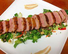 Duck Breast over Asian Chop Salad w/ wasabi mustard sauce <3