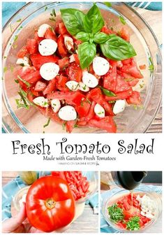 Fresh tomato salad made with garden-fresh tomatoes, fresh mozzarella cheese, parsley, basil and homemade Italian salad dressing is perfect for summer! Top Recipes, Side Dish Recipes, Real Food Recipes, Salad Recipes, Side Dishes, Italian Salad, Healthy Eating Habits, Fresh Mozzarella, Tomato Salad