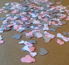 Pink Damask, Grey and White Heart Paper Confetti Party Table Decor (Table Scatter) for Birthday Parties, Baby Showers and White Baby Showers, Grey Baby Shower, Baby Shower Gender Reveal, Girl Shower, First Birthday Parties, First Birthdays, Party Like Its 1999, Paper Confetti, Pink Damask