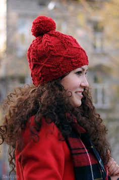Knit pompom hat Womens knit beanie Red beanie hat Knit hat Valentines day gifts by Nastiin
