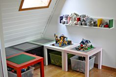 inexpensive IKEA lack tables make great lego tables or crafting tables for your kids