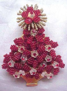Stanley Hagler Brooch Pin Christmas Tree Xmas Red w Swarovski Rhinestone