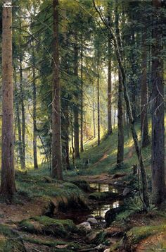 This beautiful photo reminds us that a forest filled with trees is a wondeful place to meditate. Stream by a forest slope - Ivan Shishkin - Canvas Artwork Beautiful Forest, Beautiful World, Beautiful Places, Beautiful Scenery, Beautiful Photos Of Nature, Nature Photos, Beautiful Nature Wallpaper, Beautiful Beautiful, Beautiful Sunset