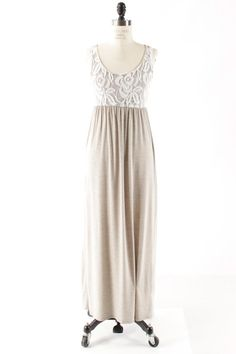 Oatmeal and Lace Solid Maxi Tank Dress