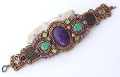 Pulsera púrpura de la turquesa bronce Tendencias Otoño