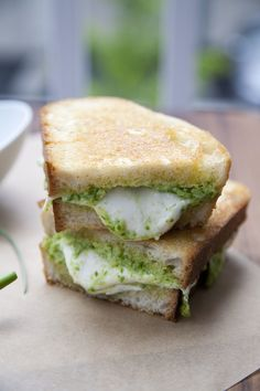 Garlic Scape Pesto and Fresh Mozzarella Grilled Cheese - A Thousand Threads