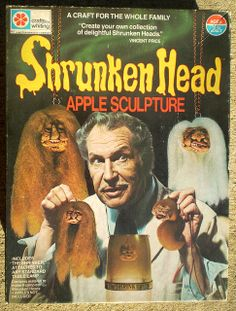"""In Whiting (a Milton Bradley Company) released The Shrunken Head Apple Sculpture Kit, and had the good sense to have horror icon Vincent Price advertise it. The Shrunken Head kit was called a """"craft for the whole family. Space Ghost, Vintage Horror, Vintage Ads, Vintage Logos, Vintage Graphic, Vintage Advertisements, Holidays Halloween, Halloween Crafts, Halloween Eve"""