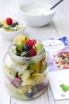 Weight Watchers Rezept - bunter Obstsalat mit Orangendressing und Minze Weight Watchers Meals, Fruit Salad, Diet Recipes, Oatmeal, Cooking, Breakfast, Desserts, Food, Watches