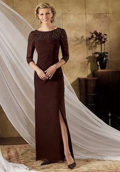 Online Sale Becent Bateau Neckline 3/4 Sleeves Beading Profile Furcal Column Mother Bride Dress