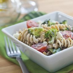 This tangy vegetarian pasta salad recipe is the perfect lunch to power you through the day. #LunchADay
