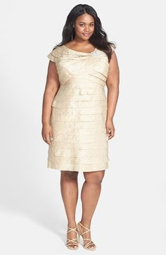 Maggy London Shutter Tuck Sheath Dress Plus Size available at