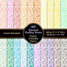 Pastel Polka Dots Digital Papers 20 Digital by GraphicsSource