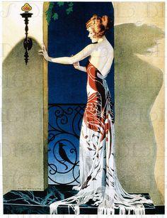 Draped Entirely in a SPANISH Shawl! Art Deco Vintage Flapper Illustration. Vintage DIGITAL Deco Download.  Coles Phillips Illustration.