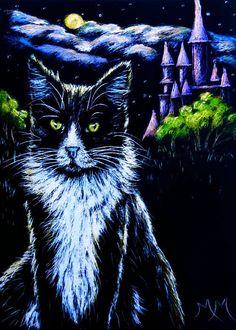 NFAC Creature of the Night Original ACEO Scratch Art GUARDING MY CASTLE Cat Moon #Miniature