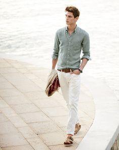59569c856721a J.Crew men s slim Irish linen shirt