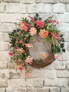 Lovely Spring Wreath, Easter Wreath, Silk Floral Wreath, Valentines Day Wreath, Front Door Wreath, Grapevine Wreath, Mother's Day Gift, Etsy on Etsy, $145.00