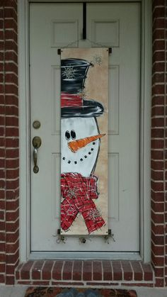 Snowman Canvas Door Decoration by StaceyDefineArtwork on Etsy , Mr. Snowman Canvas Door Decoration by StaceyDefineArtwork on Etsy. Christmas Wooden Signs, Christmas Wood Crafts, Christmas Wall Art, Christmas Porch, Christmas Paintings, Snowman Crafts, Christmas Projects, Holiday Crafts, Christmas Ornaments