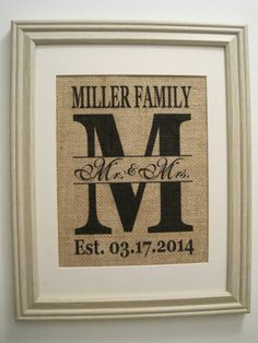 Burlap Monogram Print,Burlap Art, Burlap Wedding Gift, Burlap Initial, Save the Date, Marriage Date, Est Date, Burlap Wedding Date
