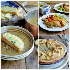 Lavender and Lovage | Midweek Roast Chicken Dinner, Cider and Onion Soup with Cheese Croutons and PIE! | http://www.lavenderandlovage.com