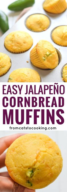 Made with shredded cheddar cheese and diced jalapeños, these Easy Jalapeño Cornbread muffins are sweet, savory and absolutely addicting! They're a great side dish that's in only 25 minutes! (healthy, vegetarian)