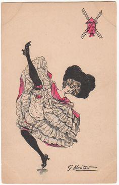 MOULIN ROUGE CAN CAN DANCER Original Vintage Art Postcard