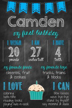 Boys First Birthday Chalkboard Poster Birthday by MsThirdGrade, $12.00