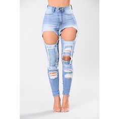 ea3a0f04b28 High Waist Light Blue Patchwork Denim Destroyed Jeans