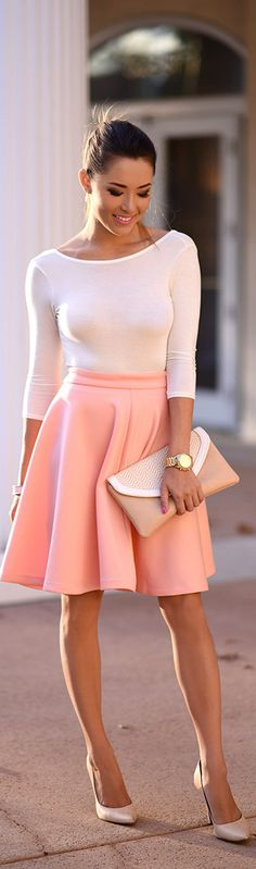 Peach And Cream Girly Fall Inspo by Hapa Time Jessica Ricks Girly Outfits, Skirt Outfits, Classy Outfits, Dress Skirt, Summer Outfits, Casual Outfits, Dress Up, Cute Outfits, Summer Clothes