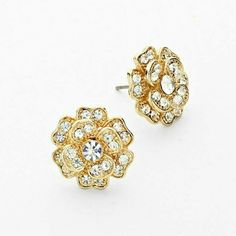 "Gold rhinestone flower stud earrings NWT Sparkling gold tone stud earring drenched with sparkling rhinestones. Pierced post style 1/2"". Brand new with tag. Jill Marie Boutique Jewelry Earrings"