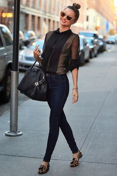 Jeans with Sheer Black Blouse and Animal Print Flats