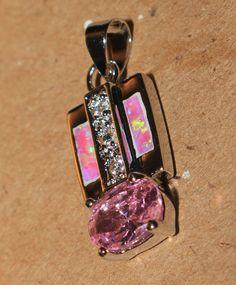 pink fire opal Cz Topaz necklace pendant Gemstone silver jewelry modern E4TCE #Pendant