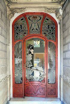 """Barcelona - Diputació 227 e"" by Arnim Schulz on Flickr - Aussiegirl.  Stained Glass Art Nouveau Door located in Barcelona, Catalonia, Spain"