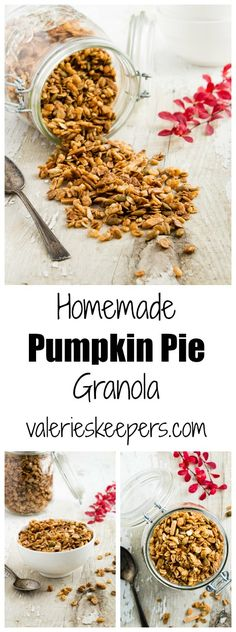 Looking for some great edible hostess gift ideas for the upcoming holidays? Why not a big jar of this Homemade Pumpkin Pie Granola!