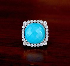 Turquoise & Sterling Silver statement ring Cushion Cut
