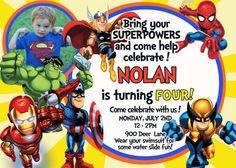 Super Hero Squad Birthday Invitation  by Asapinvites on Etsy, $12.00