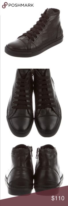 Anine Bing leather high top sneakers Black leather Anine Bing high-top sneakers with round-toes, lace-up accents at uppers, rubber soles, tonal stitching and zip closure at side.Size EU 38 or US8. Worn once,not my style Anine Bing Shoes Sneakers