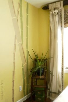 Painted wall mural for master bedroom | Mural Envy - Simple bamboo stalks elevate the room and add a peaceful, zen mood to the master bedroom decor.