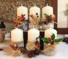 Christmas Gift Box, Homemade Christmas Gifts, Christmas Mood, Christmas Candles, Candle Arrangements, Candle Wedding Centerpieces, Christmas Centerpieces, Homemade Candles, Diy Candles