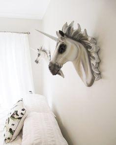 Fantasia, Faux Taxidermy, Animal Head, Unicorn Head, Faux Taxidermied, Unicorn, Horse Head, Fantasy Decor, Child's Room, Hodi Home Decor