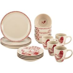 BonJour Dinnerware Chanticleer Country 16-piece Burgundy Red Stoneware... ($70) ❤ liked on Polyvore featuring home, kitchen & dining, dinnerware, red, rooster dinner plates, stoneware dinnerware sets, stoneware dinner plates, dinner dishes and country dinnerware sets