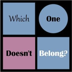 I will be using this as a bellringer sometimes to promote justifying and critical thinking. I also do a skill of the week. One is EXPLAIN!! I can't think of a better tool to help them build this skill. Math = Love: WODB: Which One Doesn't Belong?