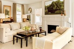 The Living Room - The Editor's Editor: Lindsay Bierman's Birmingham Home - Southernliving. My go-to neutral:I love Benjamin Moore's Ivory White. Here, I doubled the formula on the walls for a warmer glow.    Shop the room:Sofa: Todd Hase (for a similar look, try Lee Industries). Chaise: Baker Furniture. Chairs, coffee table, and lighting: Max