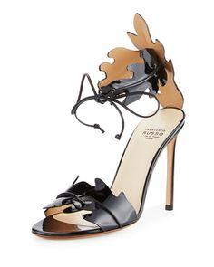 FRANCESCO RUSSO Leaf-Cut Leather Ankle-Tie Sandal. #francescorusso #shoes #sandals